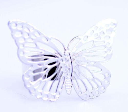 UK Größe R Silber Ton Ausschnitt Schmetterling Ring