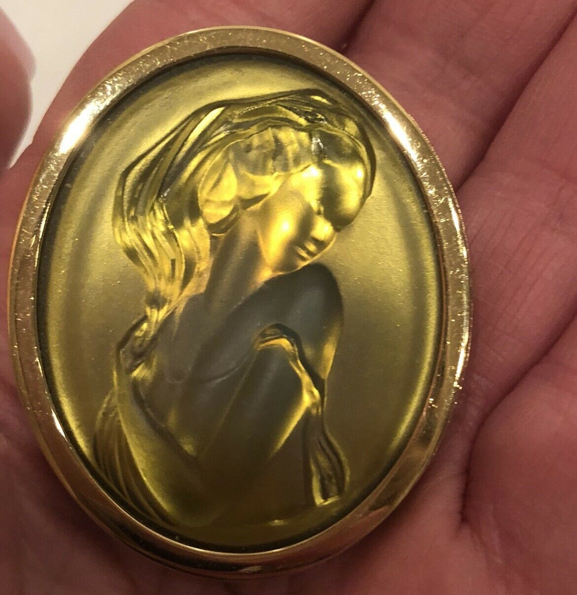 Unique Vintage Iridescent color Frosted Glass Cameo Brooch Signed Lalique France