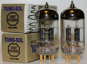 Matched Pair Tung Sol ECC803S / 12AX7 Gold Pin tubes,Reissue, Brand NEW in Box