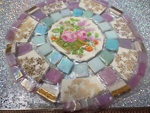 Image Is Loading Vintage Broken China Mosaic Tile Set Clic Shabby