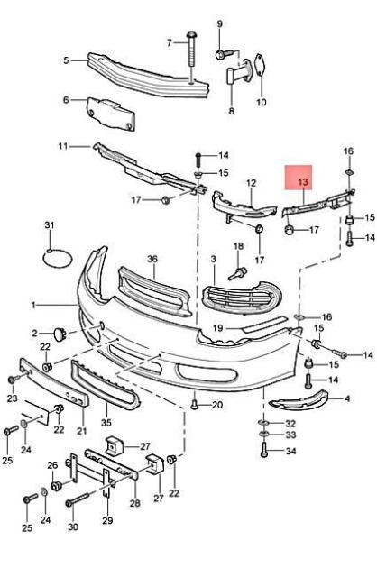 Porsche Boxster 911 Genuine Porsche Bumper Cover Support Retaining Strip
