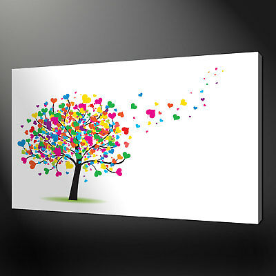 HEART TREE CANVAS PRINT PICTURE WALL ART FREE FAST POSTAGE VARIETY OF SIZES
