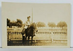 Real-Photo-Girl-with-Head-Wrap-on-Horse-Rppc-Postcard-O6