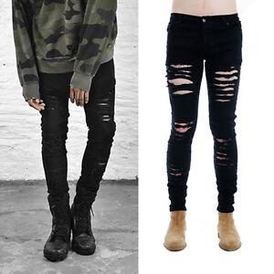 Men-039-s-Slim-Skinny-Runway-Straight-Elastic-Denim-Pants-Destroyed-Ripped-Jeans