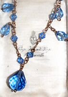 blue faceted cut glass crystal drop bead necklace Art Deco vintage rolled gold