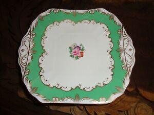 Beautiful-Fenton-Bone-China-Cake-Plate-Floral-Green-Gold-White