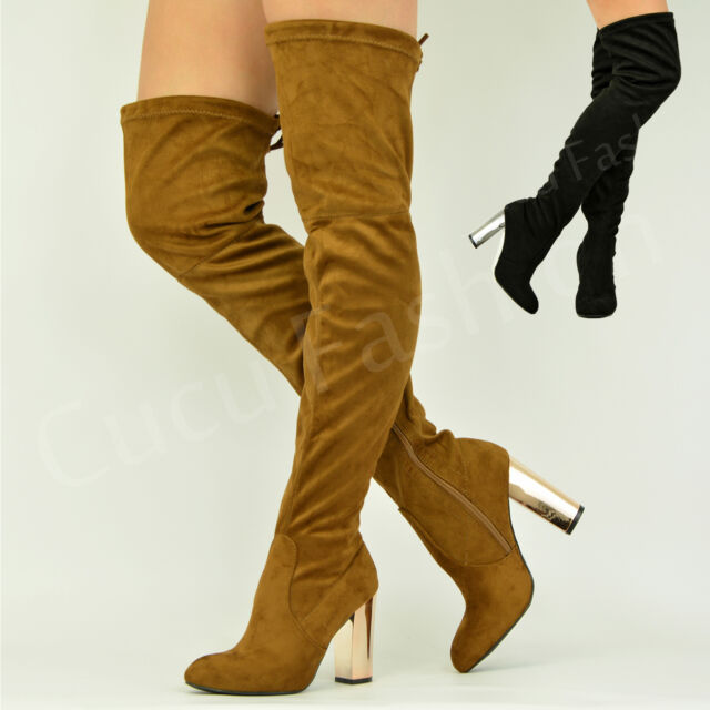 New Womens Ladies Over The Knee Boots High Block Heel Winter Shoes Size Uk 3-8
