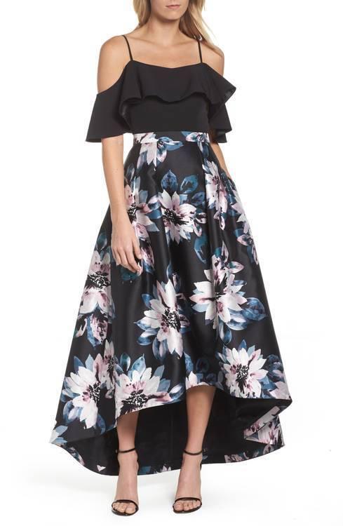 Eliza J Woherren Floral High Low Floral schwarz Skirt, Größe 8 NWT