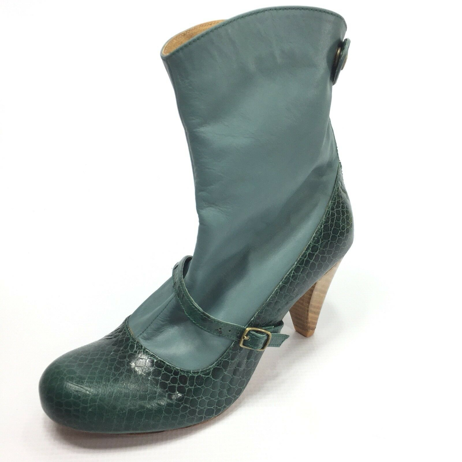 J. SHOES Swoon Women's Zip Ankle Heeled Granny Bootie Green Snake print NEW