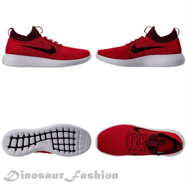 1b3ec03295cb4 Nike Roshe Two 2 Flyknit V2 Casual Shoes Red White 918263-600 Mens ...