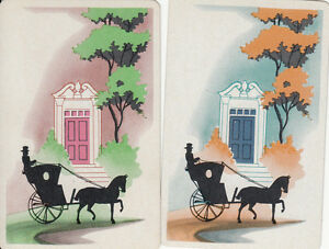 Vintage-Swap-Playing-Cards-2-SINGLE-HORSE-AND-CARRIAGE-SILHOUETTES