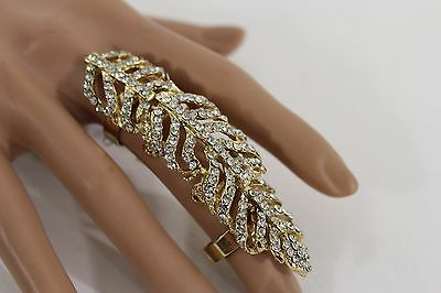 New Women Gold Metal Big Long Knuckle Leaves Adjustable Ring Rhinestone One Size