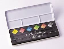 Sennelier L'Aquarelle Artists Watercolour 6 Half Pan Metal Box Starter Set