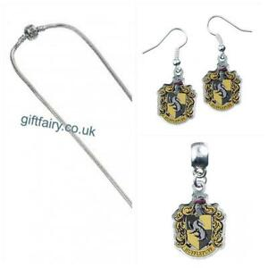 Genuine-Harry-Potter-Silver-Plated-Hufflepuff-Charm-Slider-Necklace-amp-Earrings