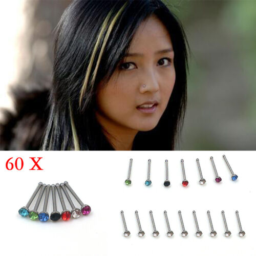 60x Wholesale Mixed Lot Color Rhinestone Nose Ring Studs Body Piercing Trendy DS