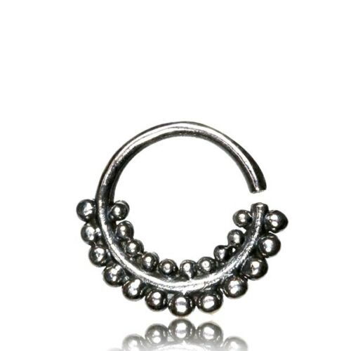 ORNATE SEPTUM 16G STERLING SILVER AFGHAN ROWS DOTS HANGING 9MM RING NOSE HELIX
