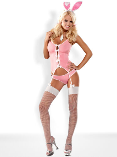 OBSESSIVE Bunny Luxury Corset Ears and Matching Brief Set Fishnet Stockings