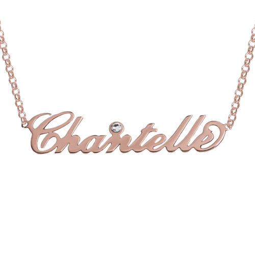 925 Sterling Silver Rose Gold Plated Nameplate Necklace Pendant Birthstone Gift