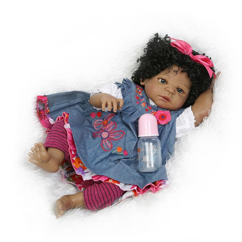 Handmade African Girl Reborn Baby Boy Silicone Vinyl Real Life Newborn Dolls