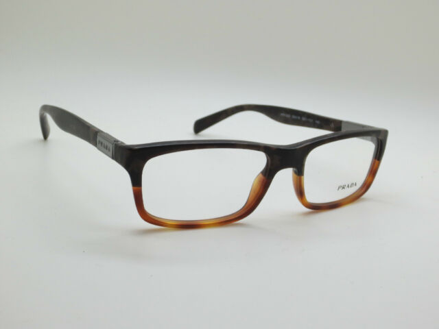 NEW Authentic PRADA VPR 02O QE1-1O1 Matte Brown Havana 52mm Rx Eyeglasses