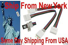10PCS Connector Led strip to 4pin 3528 5050 RGB Light 10mm solderless wire cable