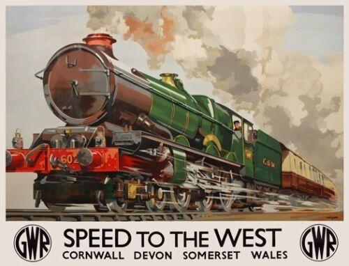 TX282 Vintage Speed West Cornwall Devon Wales GWR Railway Travel Poster A2//A3//A4