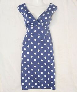 Blaues Weisses Joule Baumwolle Punkte Casual Etui Kleid Blau Weiss 36 38 Ebay