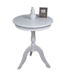 Détails sur Table D\'Appoint Blanc Rond Maison de Campagne Téléphone Basse  en Bois 65