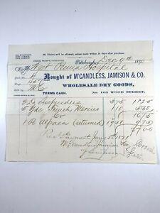 Western Pennsylvania Hospital 1870 Invoice McCandless Jamison Dry Goods F210