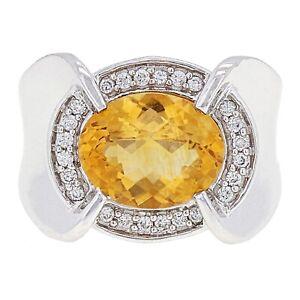 14k-White-Gold-0-20ctw-Citrine-amp-Diamond-Oval-Halo-Cocktail-Ring-Size-6