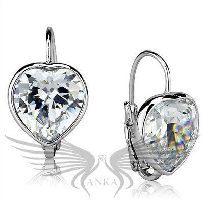 Heart Cut AAA Grade Cubic Zirconia CZ Rhodium Earrings LO3874