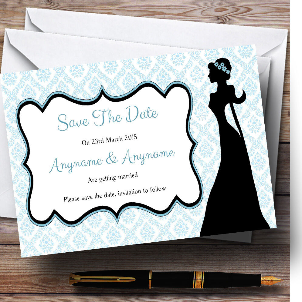 Blau Bride Silhouette Personalised Wedding Save The Date Cards