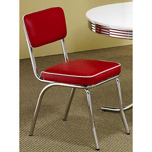red retro chairs set of 2 chrome vintage kitchen furniture