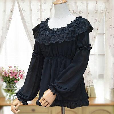 Princess Lolita Chiffon Long Sleeve Blouse Round Collar Lace Tops Shirt Japanese