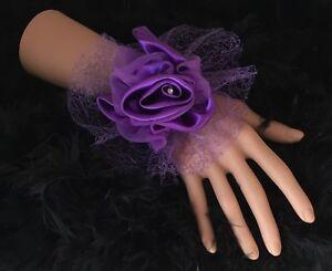New-Bespoke-Purple-Rose-Wrist-Corsage-Bride-Bridesmaids-Wedding-Guest-Proms