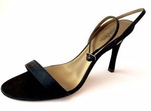 CHARLES-DAVID-Sandals-3-75-034-heel-Black-Satin-ankle-strap-sz-8-5-w-box-EUC-GLAM