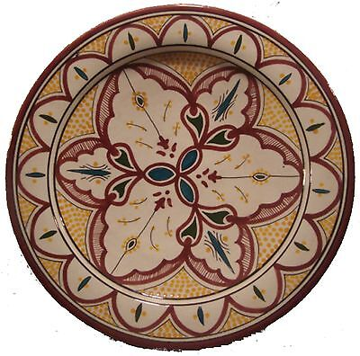 """Moroccan Ceramic HandPainted 14"""" Serving Plate #411 White/Maroon GREAT GIFT IDEA"""