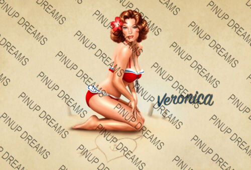 "Pin-Up Art /""Veronica/"" Vintage Retro Cult Colour Poster re-print A4 A3+ A3"