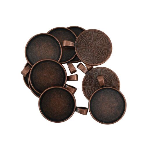 10pcs Blank Round Bezel Tray 25mm Cabochon Pendant DIY Jewelry Findings