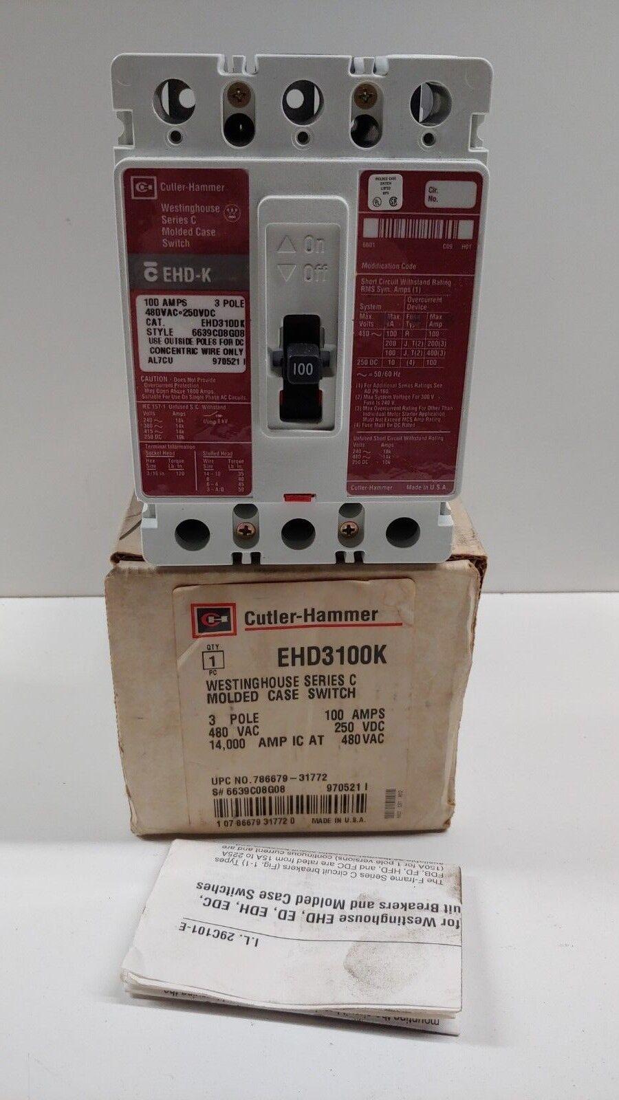 Old Stock Cutler Hammer 100 Amp 480v Circuit Breaker Ehd3100k Ebay Main Panel