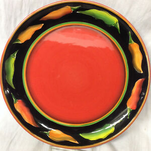 Image is loading CLAY-ART-HAND-PAINTED-JALAPENO-DINNER-PLATE-11- & CLAY ART HAND PAINTED JALAPENO DINNER PLATE 11