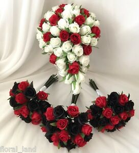 Silk Wedding Bouquet Red White Black Rose Bud Roses Teardrop Posy