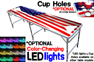 8-Foot-Beer-Pong-Table-w-OPTIONAL-Cup-Holes-amp-LED-Glow-Lights-America