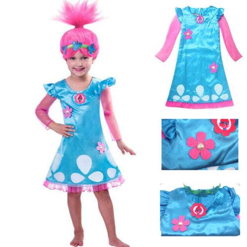 Child Trolls Poppy Troll Fancy Dress Costume /& Wig Hair Kids Girl Cosplay Party