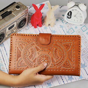 Genuine-Cowhide-Carving-Leather-Big-Oversize-Purse-Clutch-Ladies-Brown