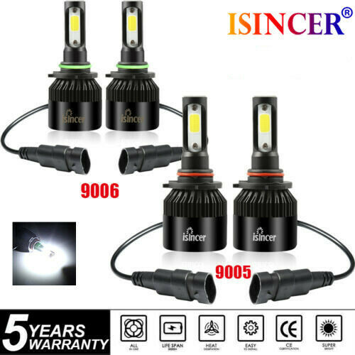 4x 9005 9006 LED Headlight Kit Combo Total 3000W 450000LM High Low Beam 6000K
