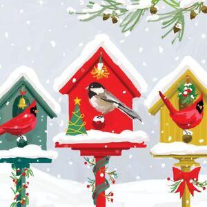 Christmas Birdhouses.Details About Christmas Birdhouses Red White 3 Ply 20 Paper Napkins Serviettes 13 X13 33x33cm