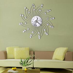 Sn-Moderne-Metal-Rhinestones-Rond-Silencieux-Horloge-Murale-Batterie-Home-Deco