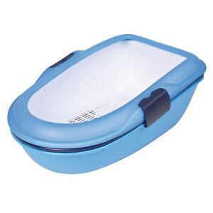 2 X Trixie Berto Cat Litter Tray Bleu 39x22x59cm Propre Filtre Tamis Système Pack-afficher Le Titre D'origine