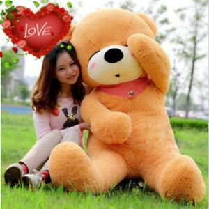 63in-Giant-Big-Teddy-Bear-Brown-Plush-Stuffed-Soft-Toys-Dolls-Just-Cover-Case